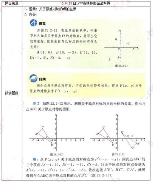 2021上半年初中数学教师资格证面试真题《关于原点对称的点的坐标》